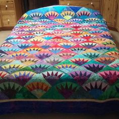 King Size Handmade Quilt in Batiks New York by MooseCarolQuilts