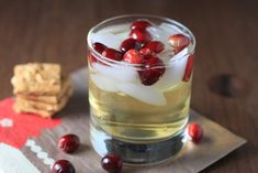 J.Crew's Ginger Cocktail (for 1 strong drink, reduce to 1 oz of vodka for a less strong version) 1.5 oz vodka (3 tablespoons, I don't have a jigger yet) 4 oz ginger beer (I used Reed's) handful of fresh cranberries