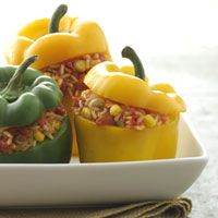Vegetarian stuffed peppers if you substitute broth (Not Chicken broth is good!)