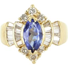 Vintage Tanzanite Diamond Cocktail Ring 14 Karat Yellow Gold Estate Fine Jewelry 7