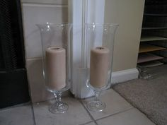 dollar tree DIY hurricane vases... $1 vase and $1 candlestick holder plus glue. for $2 plus the candle, you have a gorgeous hurricane! you could even add ribbon, stones, glass beads, etc in the wedding colors... perfect.