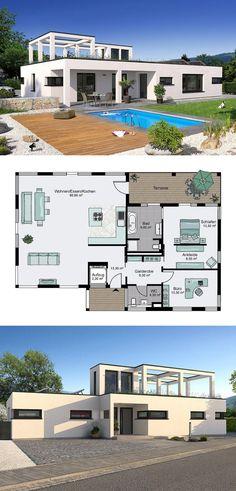 Wonderful Flachdach Bungalow Mit Bauhaus Architektur   Grundriss Haus Günzburg STREIF  Fertighaus Ideen   HausbauDirekt