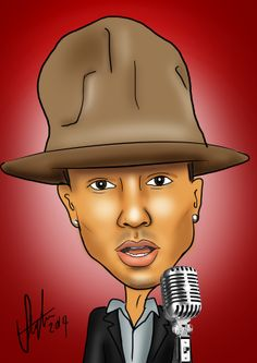 Pharrell WIlliams Celebrity illustration by Steph's Sketches www.stephssketches.co.uk