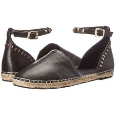 Kenneth Cole New York Blaire Women's Flat Shoes, Black ($55) ❤ liked on Polyvore featuring shoes, sandals, black, black ankle strap flats, ankle wrap espadrille, black flats, ankle wrap sandals and black studded flats