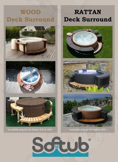 FAQ- Deck Surround - - Accessorize your Softub! The natural-stain deck surround is made of top-quality western red cedar; available on our Softub & Softub Hot Tub Gazebo, Hot Tub Backyard, Hot Tub Garden, Spa Design, Piscina Diy, Whirlpool Deck, Oberirdischer Pool, Hot Tub Surround, Sunken Hot Tub