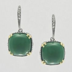 Aura 925 Sterling Silver Earrings with Natural Green Agate and Natural Marcasite