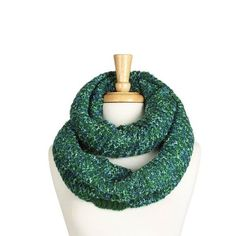 Green Two Tone Chunky Knit Infinity Scarf