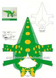 Bricolaje& doblar forma de papel origami dinosaurios de juguete ...