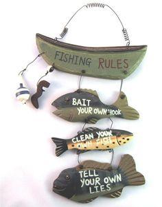 Wood Fishing Rules Sign Nautical Boat Fish Home Cabin Bathroom Decor Cute Lodge #Unbranded #Lodge