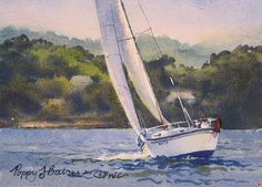 Summer Sailing by Poppy Balser Watercolor ~ 5 x 7