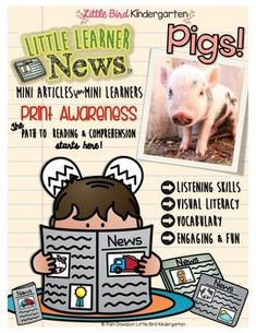 """Pigs! Non Fiction Mini news articles for little learners! Pigs! Your kids will love the """"news"""" article written just for them! Writing extensions included!"""