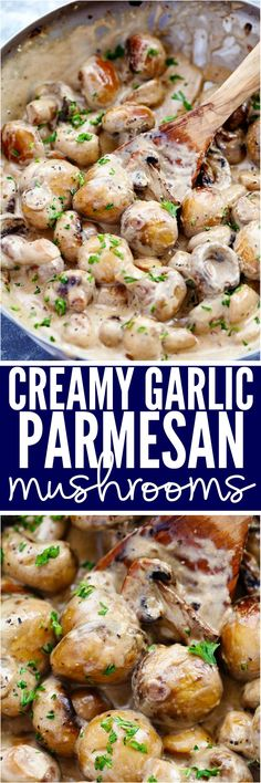 Creamy Garlic Parmesan Mushrooms are sautéed in a butter garlic until tender and then tossed in the most AMAZING creamy parmesan sauce. These are great as a side, on top of meat or eaten by themselves (Vegan Thanksgiving Dinner) Side Dish Recipes, Vegetable Recipes, Vegetarian Recipes, Cooking Recipes, Healthy Recipes, Dinner Recipes, Ovo Vegetarian, Vegetarian Lifestyle, Keto Side Dishes