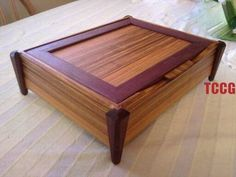 Custom Made Exotic Wood Jewelry Box, Canary & Purpleheart