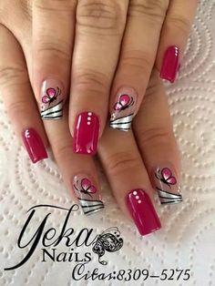 NagelDesign Elegant ( (notitle) ) - ALL - Manicure Nail Designs, Toe Nail Designs, Acrylic Nail Designs, Nail Manicure, Fancy Nails, Red Nails, Cute Nails, Pretty Nail Art, Beautiful Nail Art