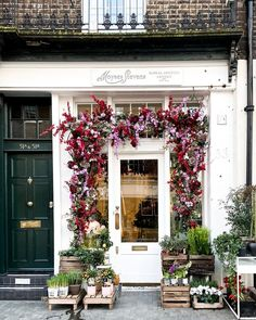 Store Fronts, Facade, Christmas Wreaths, Valentines, Small Shops, London, Street, Holiday Decor, Floral