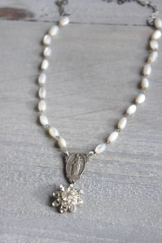 Serenity-Vintage mother of pearl necklace vintage rhinestone necklace rhinestone pendant assemblage jewelry F539-by French Feather Designs by frenchfeatherdesigns on Etsy https://www.etsy.com/listing/489598174/serenity-vintage-mother-of-pearl