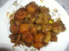 Lamb or veal stew with chestnuts and dried fruit