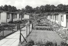 The prefabs on Broadway, Davyhulme, near Urmston, Manchester. Build post war as temporary housing, they were lived in for almost 40 years. Garage Construction, Anglican Cathedral, Temporary Housing, British Architecture, Liverpool History, The Blitz, Air Raid, Salford, British History