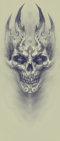 Demon, Kazimirov Dmitriy - Beautiful Skull More - . - Demon, Kazimirov Dmitriy – Beautiful Skull More – - Skull Tattoo Design, Skull Design, Skull Tattoos, Body Art Tattoos, Tattoo Drawings, Art Drawings, Tattoo Designs, Evil Skull Tattoo, Demon Drawings