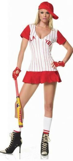 WD Lingerie - FANCY DRESS HOMERUN HITTER BASEBALL COSTUME / BASEBALL PLAYER OUTFIT / BASE BALL UNIFORM - SEXY 5 PC BASEBALL GIRL / GIRLS COSTUMES , SPORTS PLAYERS OUTFITS , DRESSES & UNIFORMS - AVAILABLE IN COLOURS RED OR NAVY BLUE[LA-83130]
