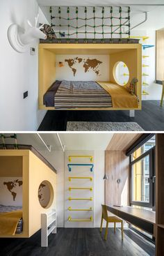 In this modern kids bedroom, the bed is surrounded by a yellow frame with a circular cutout that looks towards the window. A ladder on the wall leads up to a a reading nook above the bed, while agains