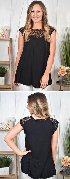 Black Lacy Trim Top | Lane 201 Boutique