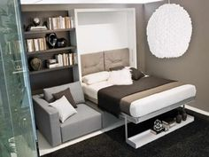 grey+coach+with+grey+double+murphy+bed+with+board+full+of+books+and+some+vases