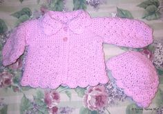 Suzies Stuff: SUZIE'S PRETTY SHELLS BABY SWEATER AND HAT (C)