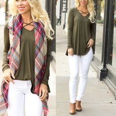 Olive Green Criss Cross Front Detail Top, winter outfit ideas, blanket scarf, winter white jeans www.shopcsgems.com