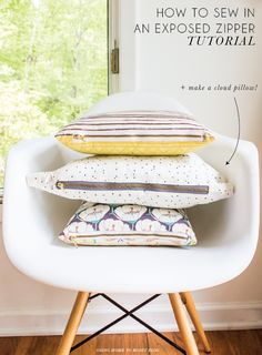 How to Sew in an Exposed Zipper + Make a Cloud Pillow!