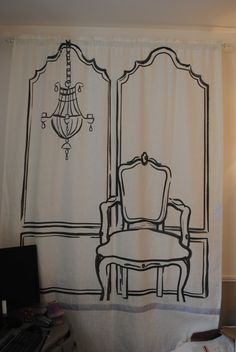 Turned out really well as a backdrop for stage and photos at a church womens event - used an overhead projector and traced pattern directly on a 9x12 painter's drop cloth, sewed a rod pocket and hung it on PVC pipe frame.