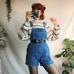 Cute vintage mini dungarees / overalls. Lovely thick denim, - Depop Retro Outfits, Cute Casual Outfits, Artsy Outfits, Cute Vintage Outfits, Overalls Vintage, Aesthetic Fashion, Aesthetic Clothes, 80s Fashion, Fashion Outfits