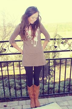 225 Comfy outfit black leggings brown boots and scarf.