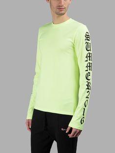 ヴェトモン(VETEMENTS)長袖Tシャツ VETEMENTS MEN'S FLUORESCENT GREEN LONG SLEEVES T SHIRT