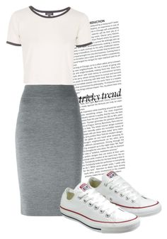 """Tricky Trend: Pencil Skirt with Sneakers"" by luvou ❤ liked on Polyvore featuring Alexander McQueen, Topshop, Converse and TrickyTrend"