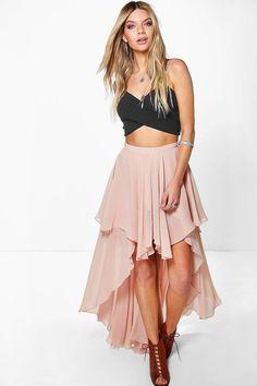 boohoo Giselle High Low Hem Bohemian Maxi Skirt