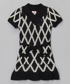 Another great find on #zulily! Black & White Diamond Ruffle Sweater Dress - Girls by Dollhouse #zulilyfinds
