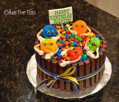 M&M and Kit-Kat cake Holly Lake Ranch, Happy Birthday, Birthday Cake, Custom Cakes, Kit, Facebook, Desserts, Food, Happy Brithday