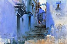 (с) Prafull Sawant Watercolor City, Watercolor Landscape Paintings, Watercolor Drawing, Watercolor Portraits, Painting & Drawing, Poster Color Painting, Urban Painting, Art Of Man, Art Pictures