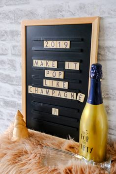 Champagne Pop, Boxing Quotes, New Years Eve, Words Quotes, Wine Rack, Letter Board, Messages, How To Make, Lightbox