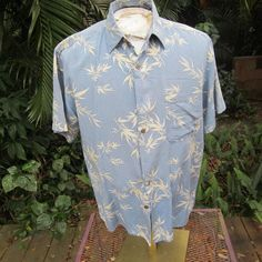 HAWAIIAN Aloha SHIRT L pit to pit 23 SILK ICON tropical bamboo leaves branches #SeeDescription #Hawaiian