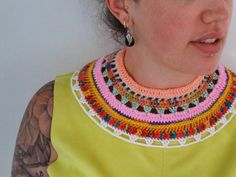 tribal crocheted collar necklace - pastel colours