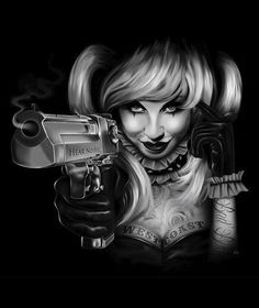 "Hear No Evil by artist Charlie Medina.Sexy tattooed woman holding a smoking gun.Giclee fine art reproductions on canvas.A Canvas Giclee is a gallery wrapped canvas print that comes on a 1.25"""" stretch"