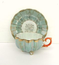 Vintage Sage Blue Lusterware Footed Teacup/Tea Cup and Saucer, Mid Century, Japan, Vintage Dishes