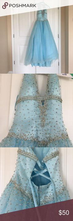 Beautiful Ball Gown Light blue dress with lots of beading and plunging neckline. Corset back. Worn twice. Dresses Prom