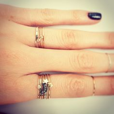 I like the tiny, delicate rings stacked. Very cute.