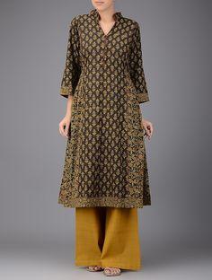 Buy Brown Mustard Ajrakh printed Mandarin Collar Cotton Kurta Women Kurtas…