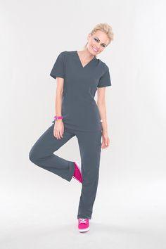 Smitten's ROCK GODDESS top is a Smitten Classic! Rock it in 8 hot colors, including Steel! #smitten #scrubs #medical #uniforms #hospital #nurse #dental #fashion #spring #steel #april