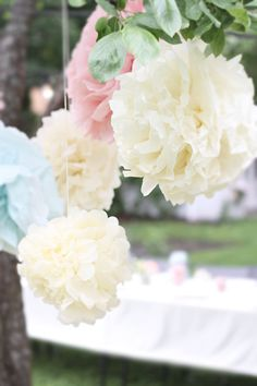 Pom Poms - I have joined the craze; perfect way to decorate a party and these would look beautiful hung in the garden! #designsponge #dssummerparty