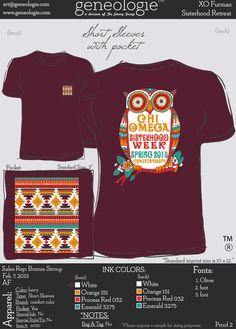 XO pattern / owl shirt - chi omega...cute shirt idea! I really like the color combination! :)
